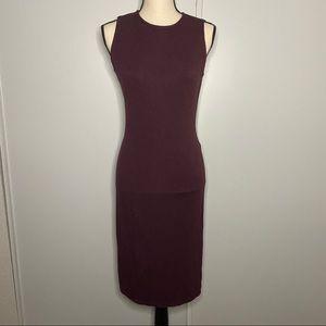 Cynthia Rowley Burgundy Slit Sleeveless Midi Dress